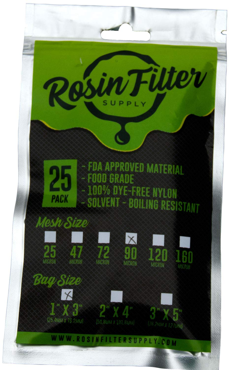 Rosin Filter Supply Bags 1 x 3 Nylon Screens 160 Micron, 10