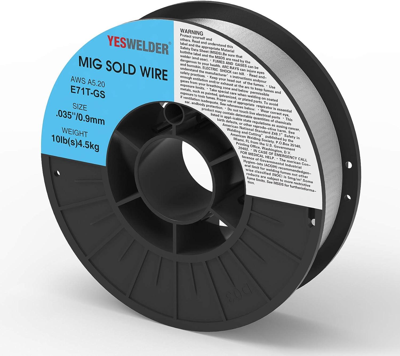 YESWELDER Flux Core Mig Wire 10-Pound Spool Mild Steel E71TGS.030-Diameter