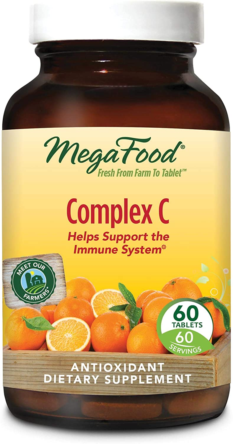 MegaFood – Complex C, Supports Immunity and Well-Being with Rosehips and Orange, Vegan, Gluten-Free, Non-GMO, 60 Tablets FFP
