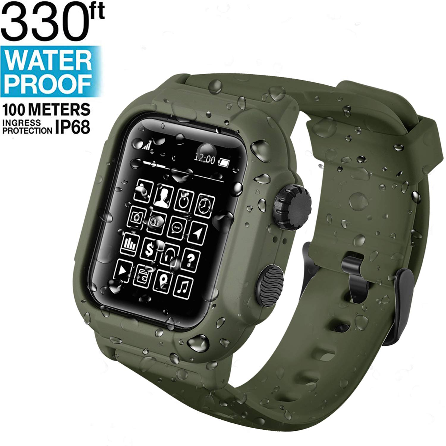 Waterproof Apple Watch Case Series 42mm 44mm with Premium Soft Silicone Apple Watch Band, Shock Proof Impact Resistant [Rugged iWatch Protective case] (Army Green, 44)