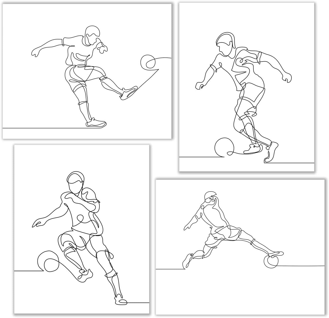 Soccer Minimalist Wall Art Decor Prints - Set of 4 (8x10) Inch Unframed Poster Photos - Kids Bedroom Gift Idea