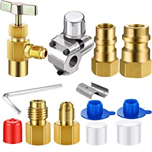 R12 to R134A Conversion Kit BPV-31 Bullet Piercing Tap Valve R134A Refrigerant Opening Valve 8401 Can Tap 6015 6014 Refrigerant Vacuum Pump Adapter, Retrofit Valve Convert Adapter for A/C Refrigerant