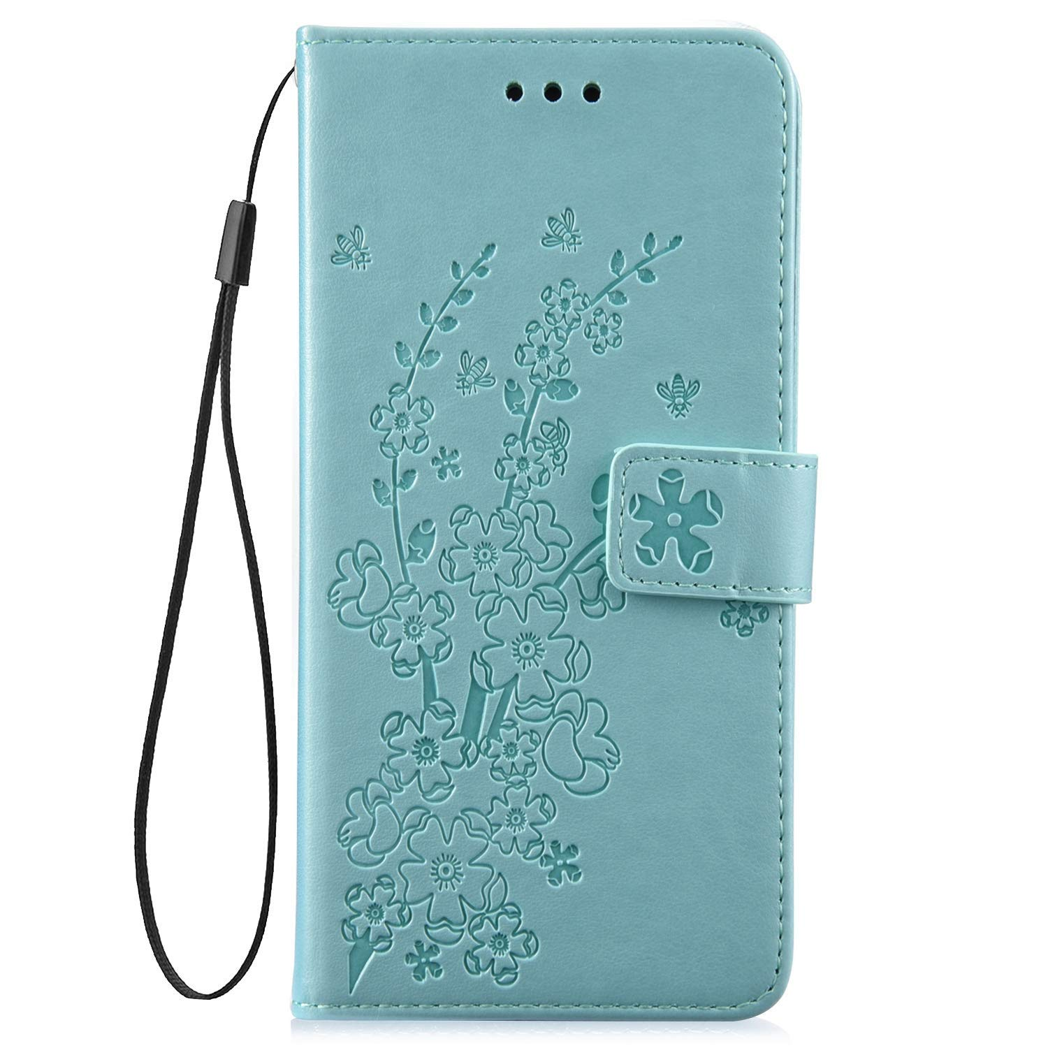 Saceebe Compatible avec iPhone 7 Plus//iPhone 8 Plus Coque Pochette Portefeuille Cuir Housse Fleurs de Cerisier Motif Magn/étique /Étui /à Rabat Wallet Flip Cover Support Antichoc Carte Fente,Or Rose