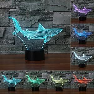 7 Color Change lamp 3D lamp Shark Shape USB Touch Sensor Night Lighting LED Table lamp as Home Decor or Gift for Kids (Changeable)