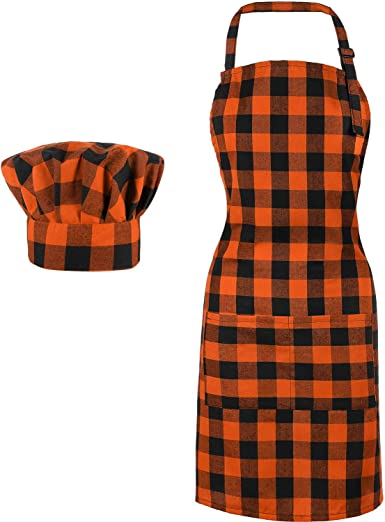Amazon Com 2 Pieces Chef Hat And Aprons Buffalo Plaid Check Women Apron For Christmas Holiday Orange And Black Clothing