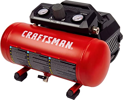 Craftsman Air Compressor, Portable Oil-Free 1.5 Gallon Small Air Compressor Max 135 PSI Pressure 3 4 Horse Power 1.5 CFM 90PSI, Red- CMXECXA0200141A