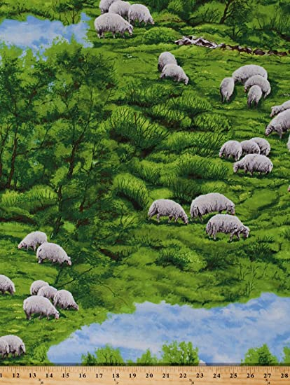 Cotton Fabric Animal Fabric by the Yard 44 Wide SY Field