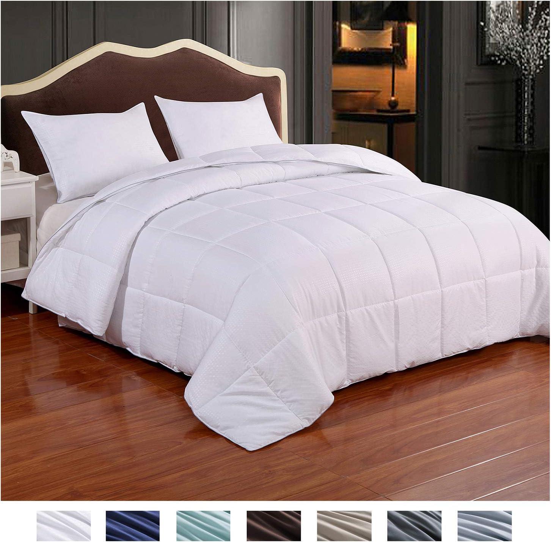 Homelike Moment Reversible Lightweight Comforter - All Season Down Alternative Comforter King Summer Duvet Insert White Quilted Bed Comforters with Corner Tabs King Size White