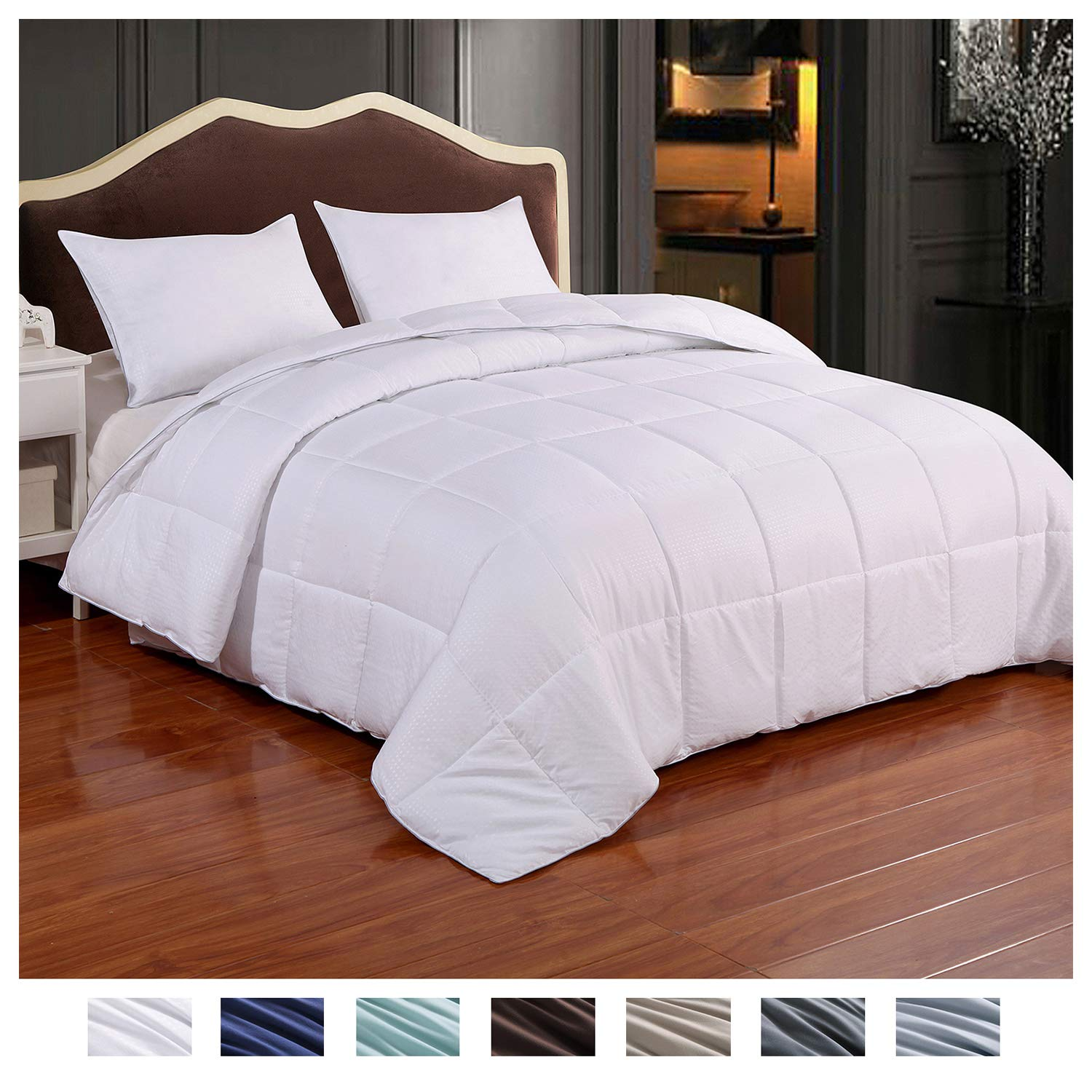 Homelike Moment Reversible Lightweight Comforter - All Season Down Alternative Comforter Queen Summer Duvet Insert White Quilted Bed Comforters with Corner Tabs Full/Queen Size White