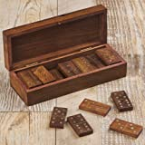 Rusticity Wood Dominoes Set of 28 Double Six Pieces with a Box Case | Handmade | (8x3 in)