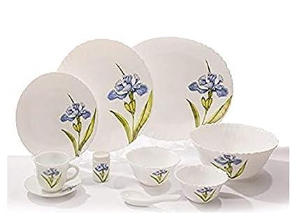 LaOpala Royal Iris Dinner Set, 33-Pieces, Multicolour