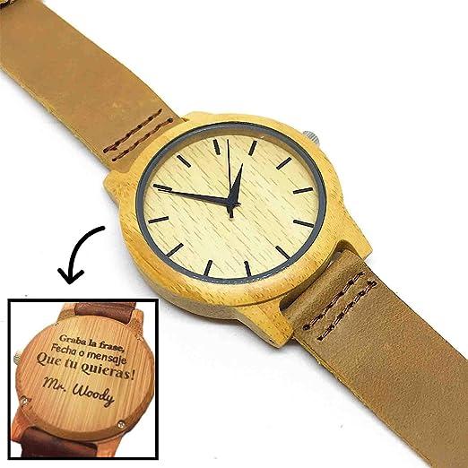 Reloj de Madera Personalizado para Hombre con Grabado Láser de Texto, Mensaje o Dedicatoria Atrás