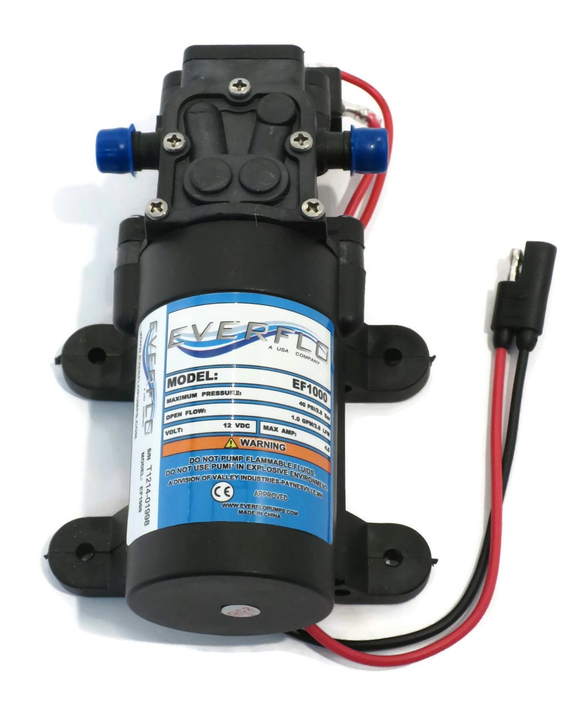 New 1.0 GPM 40 psi 12 Volt Diaphragm ON Demand WATER PUMP w/ Wire Power Harness by The ROP Shop by The ROP Shop (Image #3)