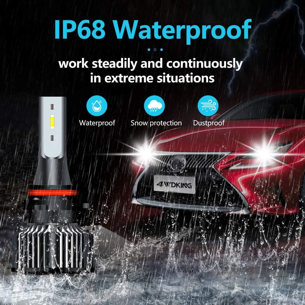 4WDKING 9005//9006 LED Headlight Bulbs 60W 8000 Lumens Super Bright HB3//HB4 LED Headlights Conversion Kit 6500K Cool White IP68 Waterproof with T10 x2
