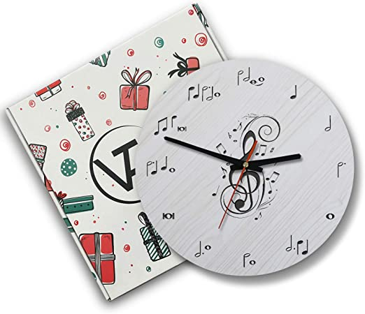 7 inches tall Music Instrument Glass Clock by Broadway Gifts