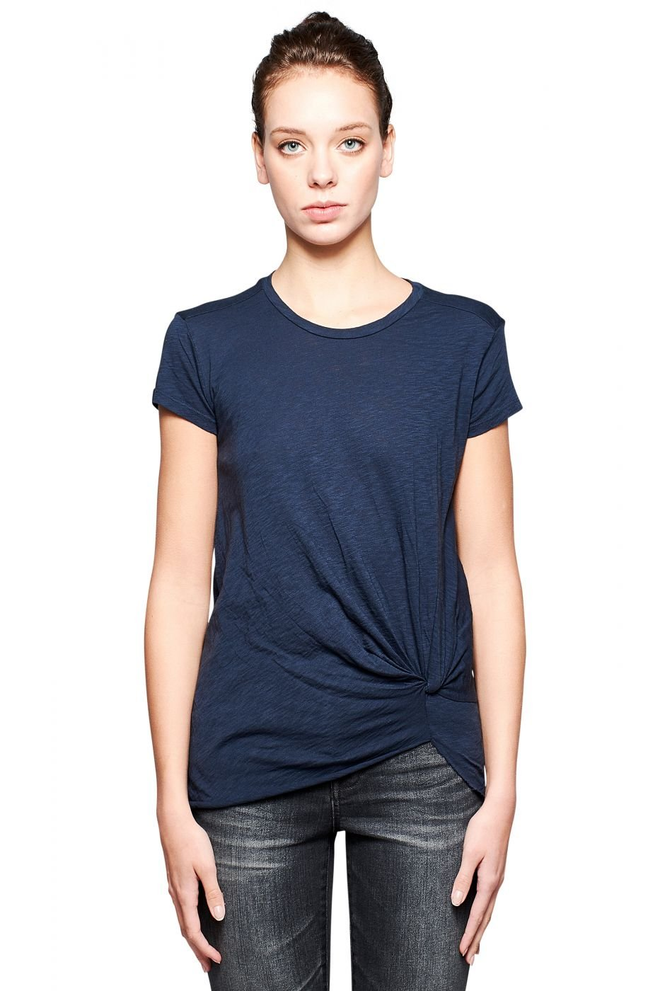 Stateside Women's Slub Jersey Twist Front Short Sleeve Tee, Navy, M