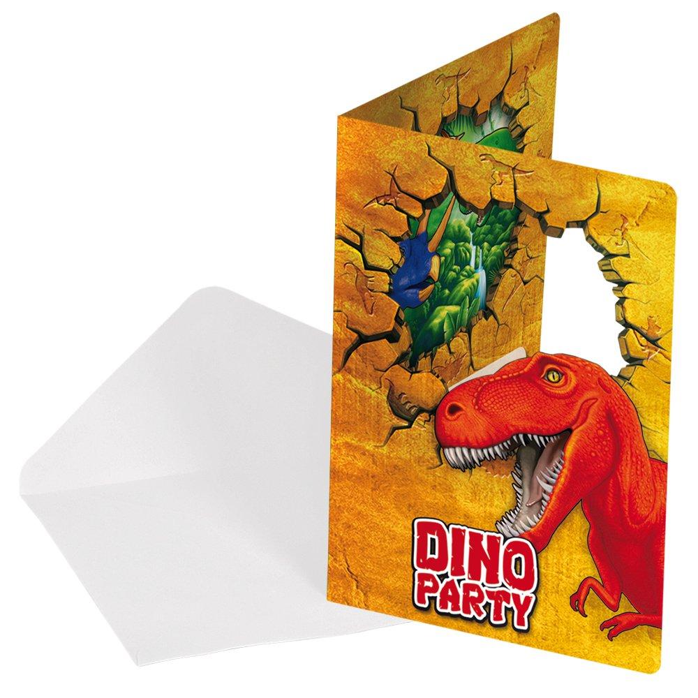 Juego de 12 piezas de invitaciones cumpleaños de Dinosaurio T Rex . 6 tarjetas y 6 sobres Folat 61860