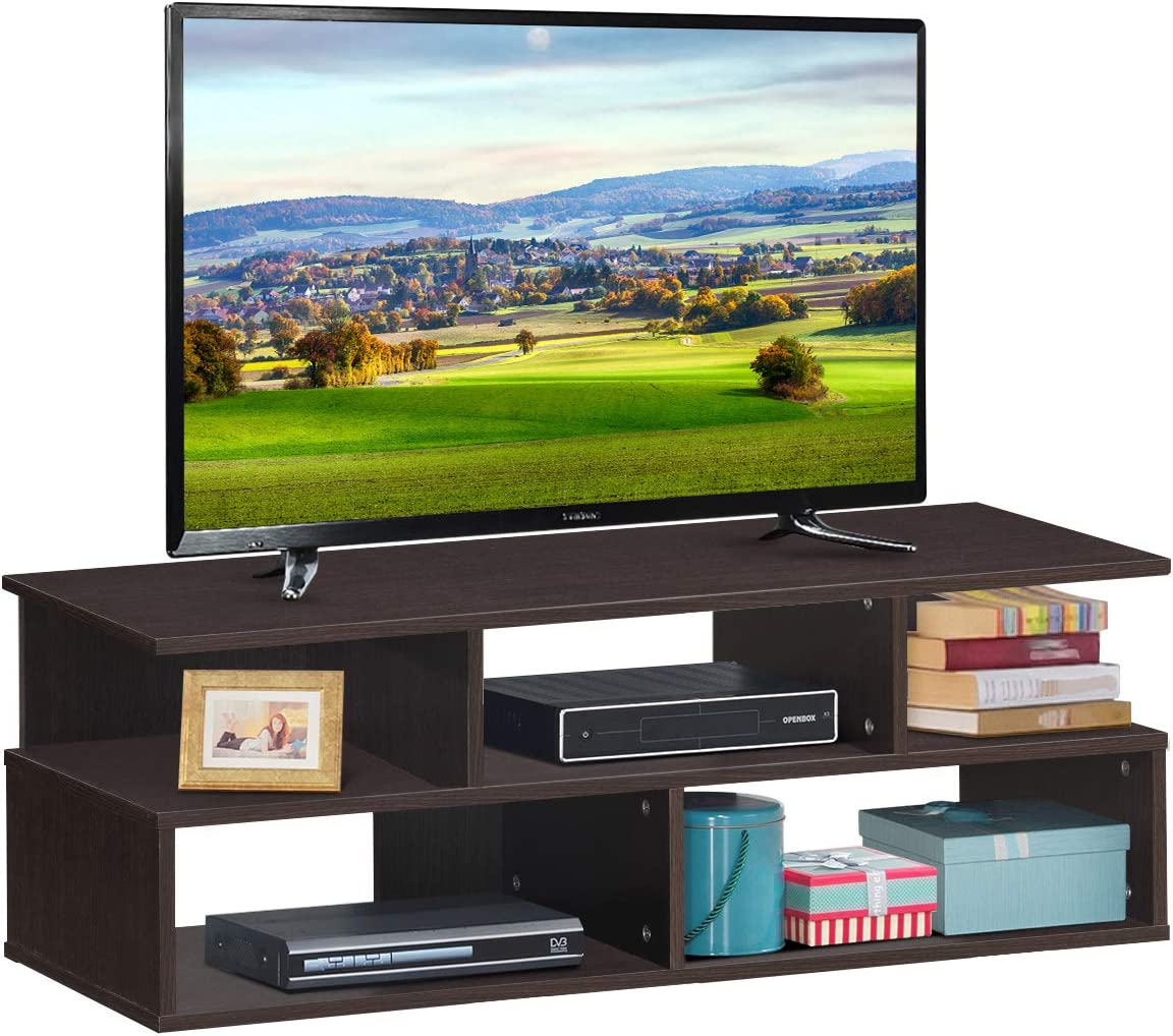 Tangkula 3-Tier TV Stand, Media Console Storage Cabinet for TV up to 42 , Entertainment Center for Living Room, Home Office Furniture, Mid-Century Style Espresso Oak