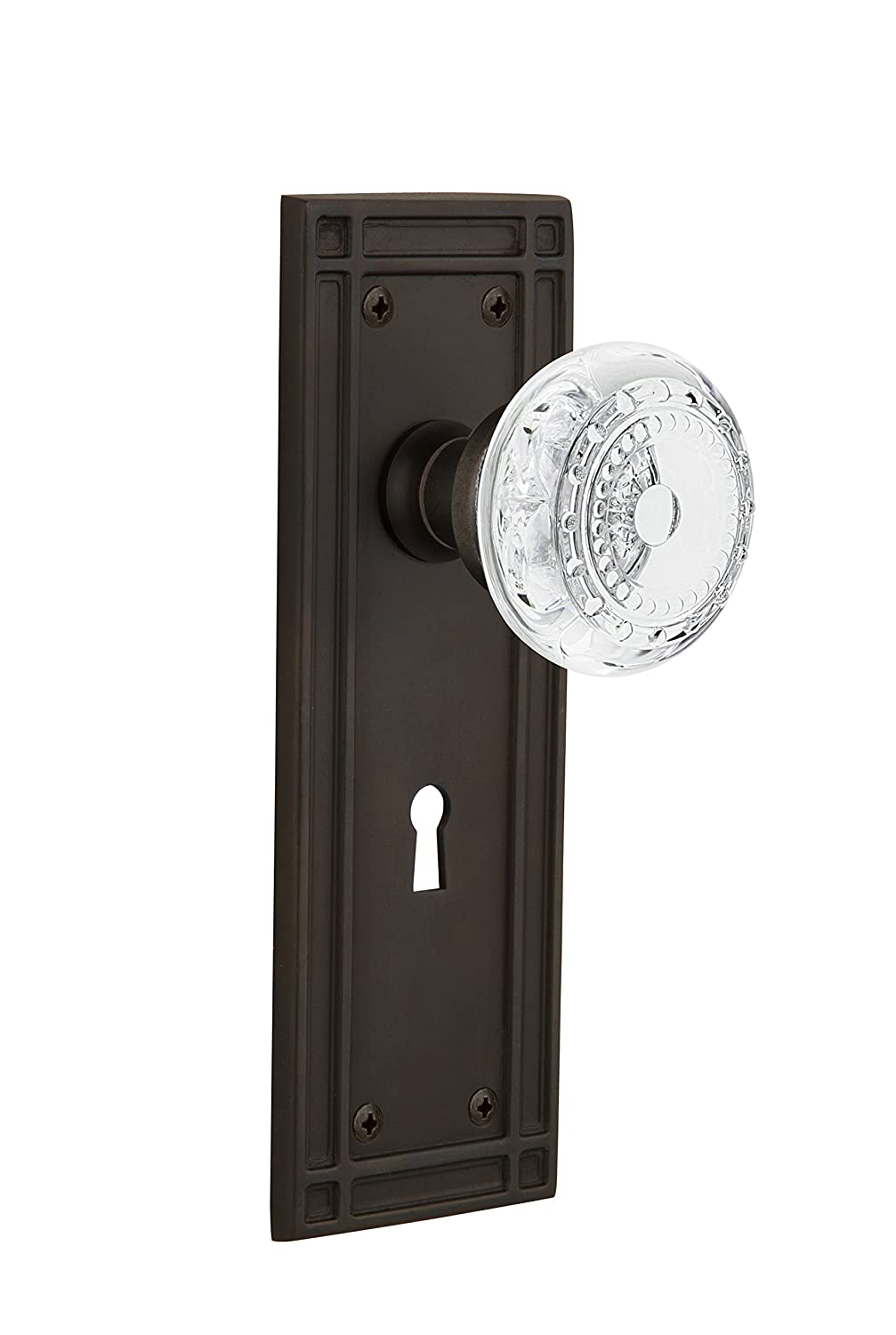 Nostalgic Warehouse 752389 Mission Plate with with Keyhole Crystal Meadows Knob Privacy Backset Size 2.75 Oil-Rubbed Bronze