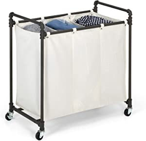 "Real Home Innovations Modern Industrial Style 3 Section Laundry Sorter, 33.24"" W x 17.10"" D x 30.50""H, Satin Pewter"