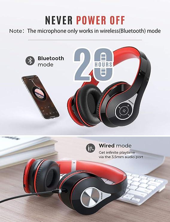 Mpow 059 Cuffie Bluetooth Over Earar, Hi Fi Stereo Wireless Cuffie Pieghevoli, Morbide Memory Proteine Auricolari Con Microfono Integrato, Modo