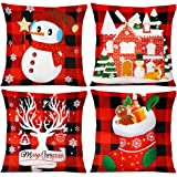 JOHOUSE Christmas Pillow Covers, 18 x 18inches Decorative Christmas Throw Pillowcases, 4PCS Christmas Buffalo Check…