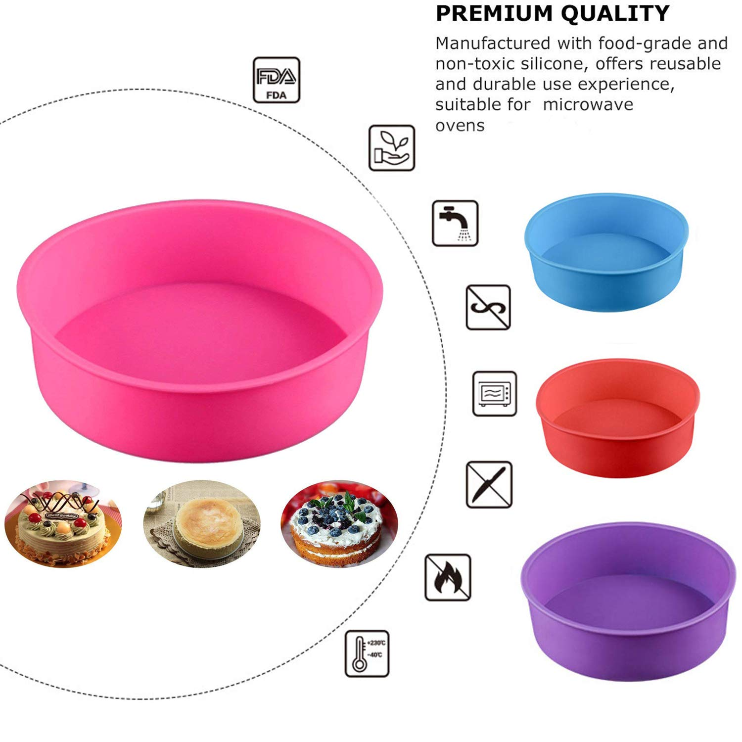 4PCS Round Cake Pan Silicone Baking Mold Cake Mould for Baking Dies 46(Blue//red//Purple//Pink)