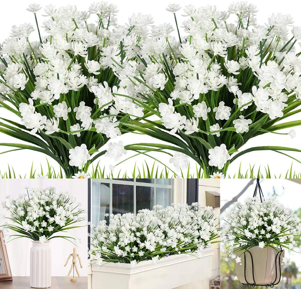 KLEMOO Artificial Flowers, 8 Bundles Fake Outdoor UV Resistant Greenery Faux Plants Shrubs for Indoor Outside Hanging Planter Home Office Wedding Farmhouse Decor (White)