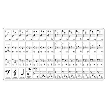 Neewer Set completo de Nota calcomanías adhesivos para Piano y teclado música con usuario guían 49
