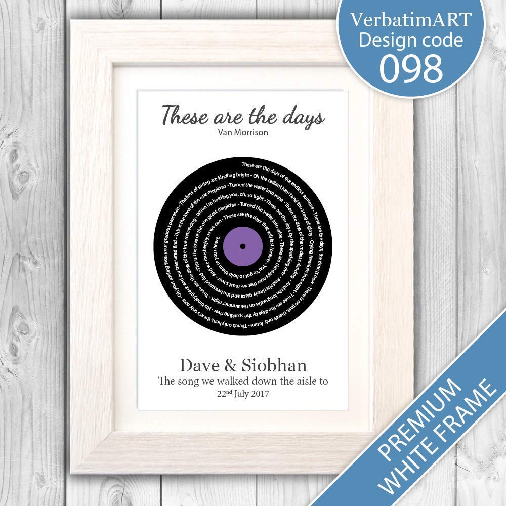Personalised Song Lyrics Print/Fathers Day/First Dance gift/Wedding  gift/Anniversary present/Valentines day gift VA098