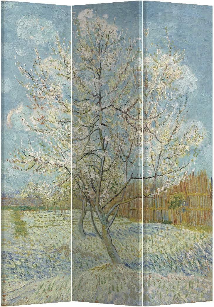 Fine Asianliving Paravento Divisori Tela 3 Pannelli Pieghevole Separatore Pink Peach Tree Van Gogh L120xH180cm 203-515