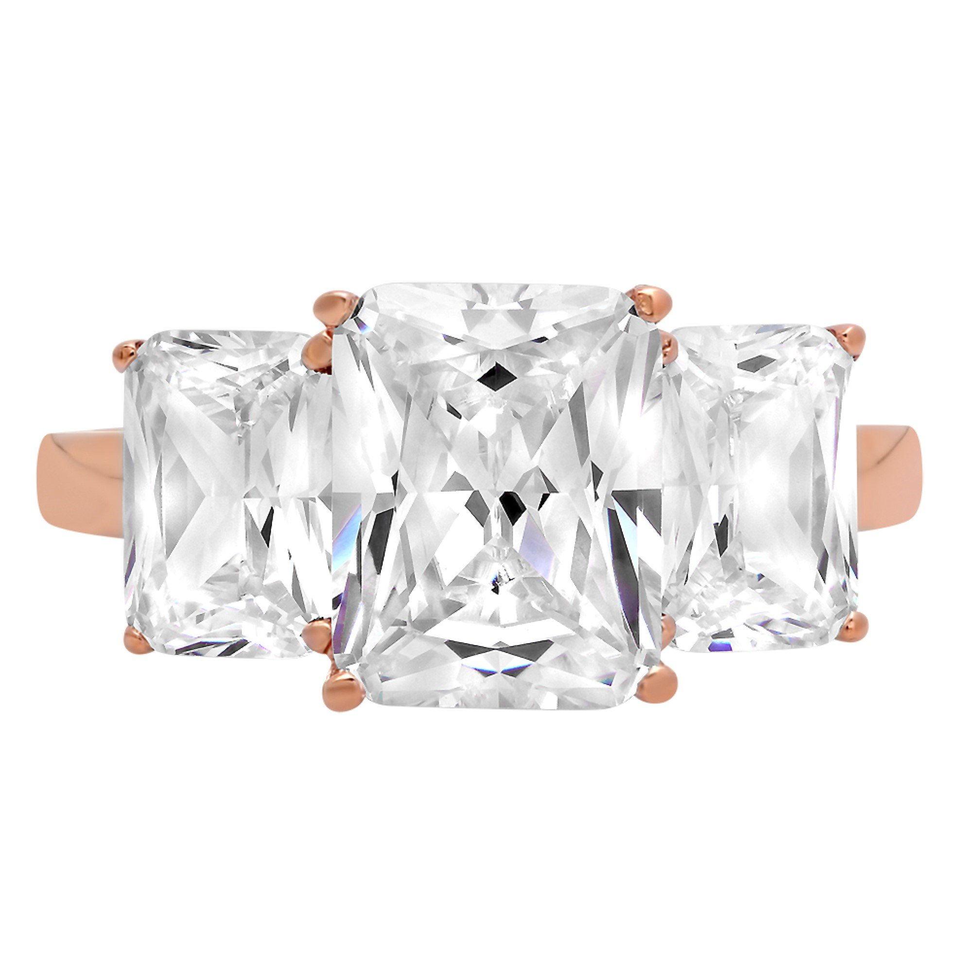 4.1ct Brilliant 3-Stone Emerald Solitaire Statement Simulated Diamond Ring 14K Rose Gold, 6.5