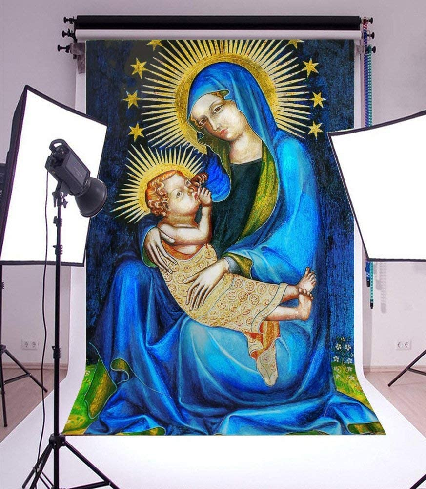 5x7ft Vinyl Backdrop Photography Background Virgin Mary and Christ Child Oil Painting Wallpaper Jesus Christ Ancient Italy Background Photo Studio Prop Children Adult Belief