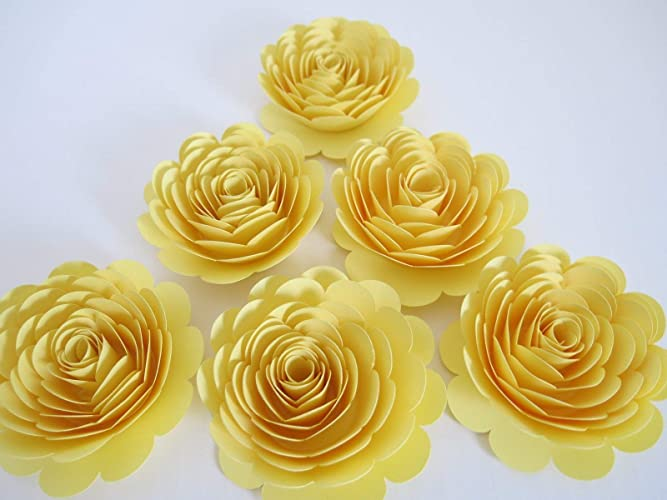 Amazon pastel yellow roses set of 6 3 handmade paper flowers pastel yellow roses set of 6 3quot handmade paper flowers gender neutral mightylinksfo