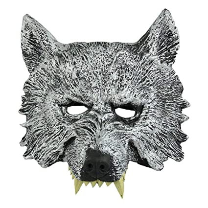 Amazon.com: Wolf Head Mask - Szs Grey Wolf Head Mask Masquerade ...