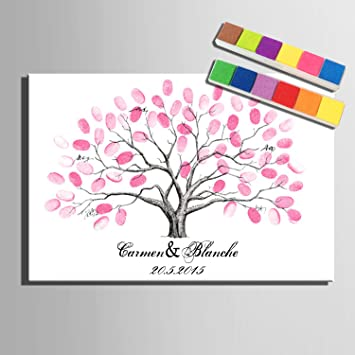 Amazon De Fingerabdruck Signature Leinwand Painting Pink Baum