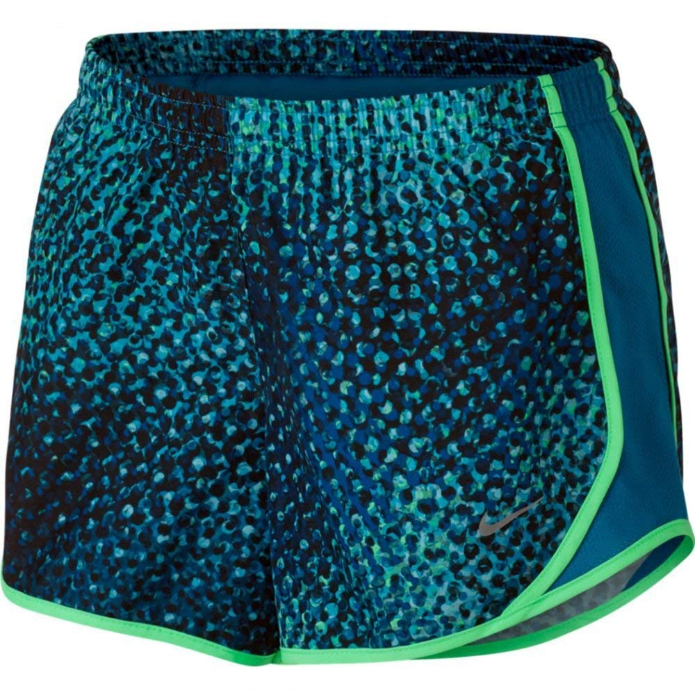 NIKE Girls' Dry Tempo Running Shorts (Industrial Blue (888667-457)/Reflective Silver, Small) by Nike