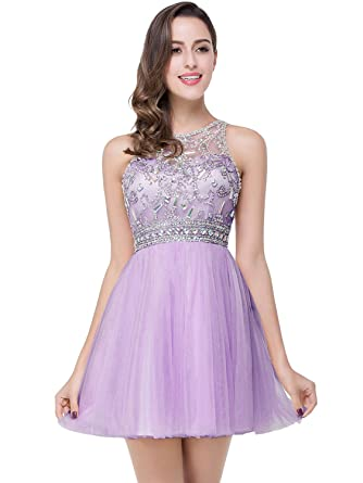 b07f170f3e Babyonline Crystals Beads Womens Cocktail Dresses Short Mesh Backless Prom  Dress