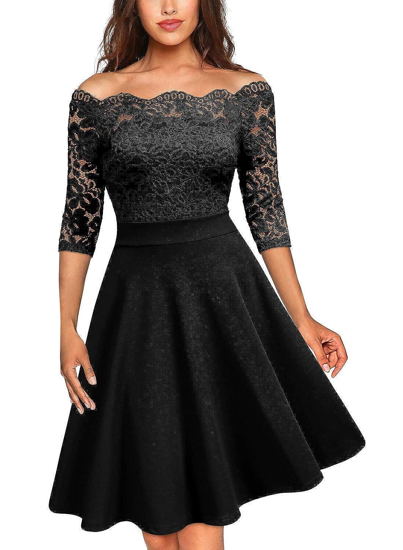 MISSMAY Damen Vintage Cocktailkleid 1950er Off Schulter Spitzen 3//4 Arm Abendkleid Schwingen Pinup Rockabilly Kleid
