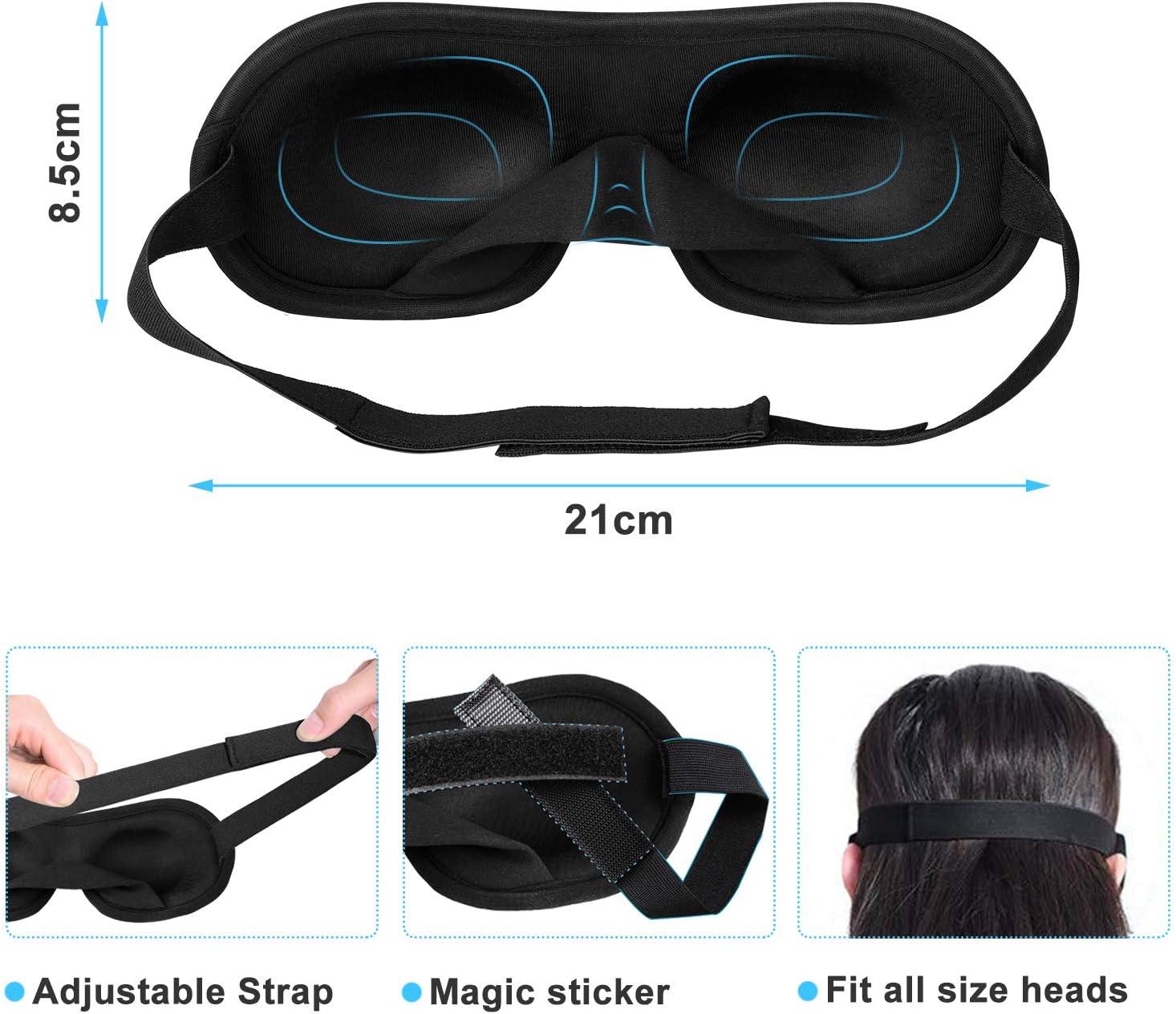 masque de sommeil 100/% occultant confortable pour nap//migraine//camping//voyage Seika Masque de sommeil 3D contour des yeux pour dormir Noir masque de sommeil de nuit en mousse /à m/émoire de forme
