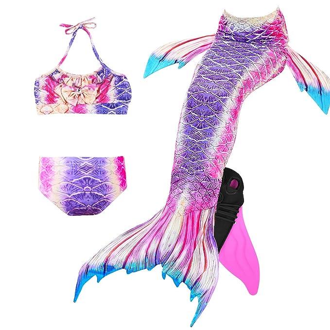 Amazon.com: 4 piezas de sirena para niñas con cola de sirena ...