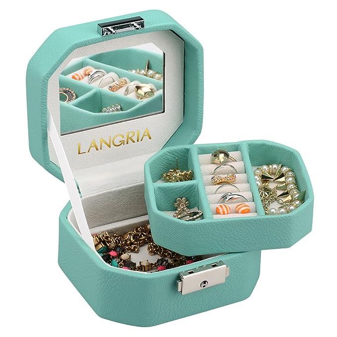 Amazoncom LANGRIA Lockable Jewelry Box Small Travel Jewelry