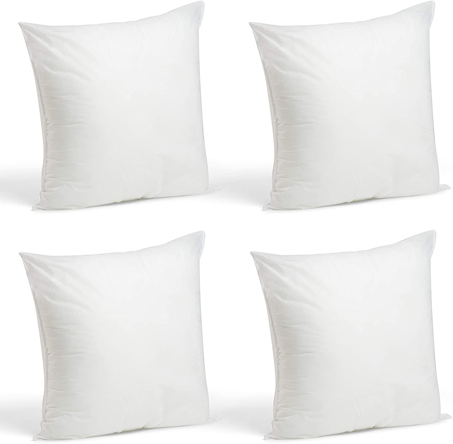 "Foamily Set of 4-18 x 18 Premium Hypoallergenic Stuffer Pillow Inserts Sham Square Form Polyester, 18"" L X 18"" W, Standard/White: Home & Kitchen"