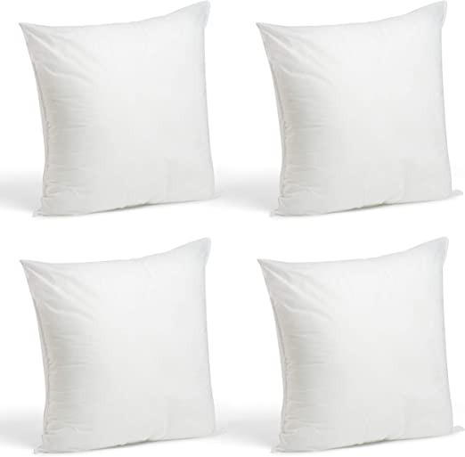 Foamily Set Of 4 18 X 18 Premium Hypoallergenic Throw Pillows For Couch Or Bed Decorative Inserts Bedding Made In Usa Home Kitchen