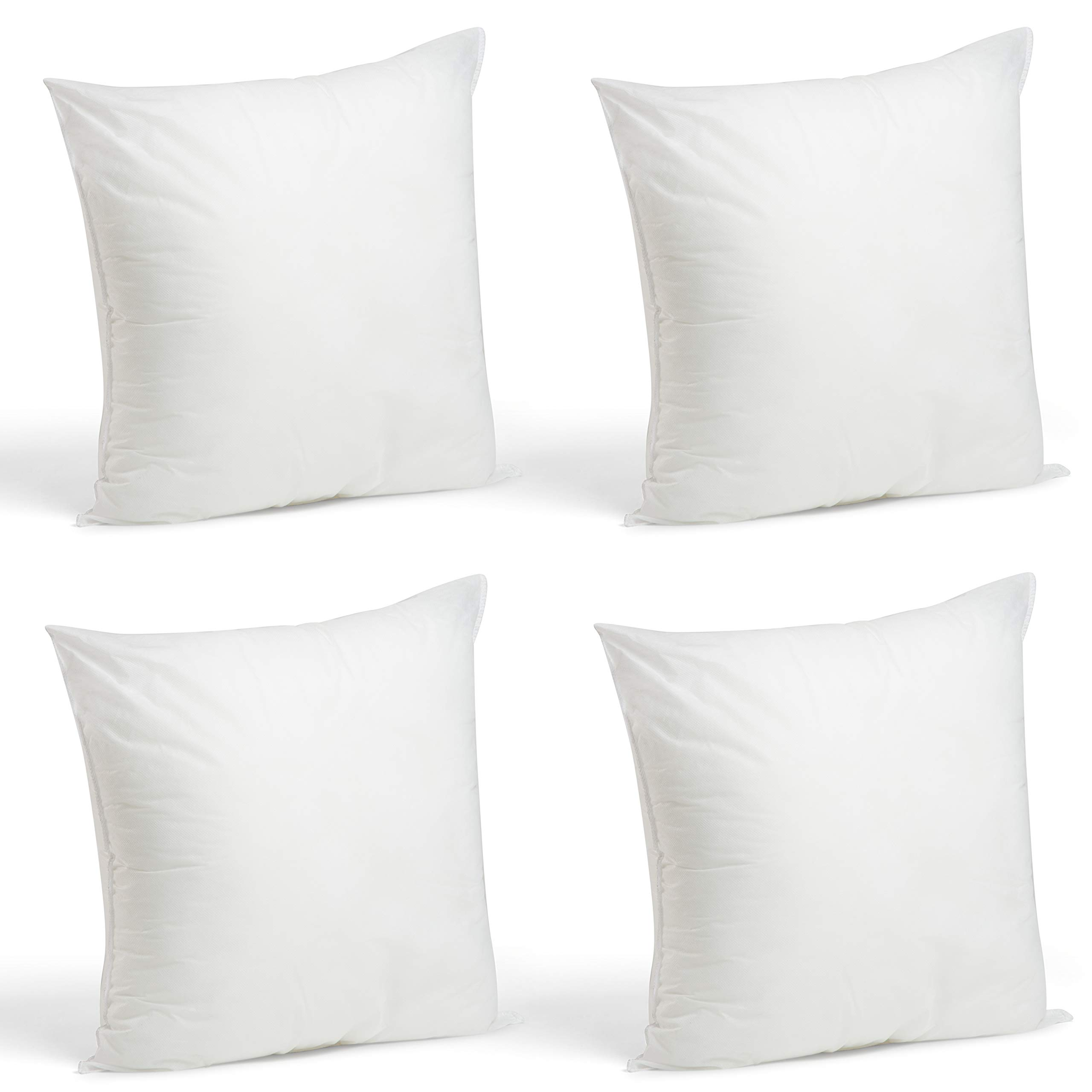 Foamily Set of 4-18 x 18 Premium Hypoallergenic Stuffer Pillow Inserts Sham Square Form Polyester, 18'' L X 18'' W, Standard/White by Foamily
