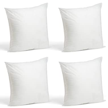 Foamily Set of 4-18 x 18 Premium Hypoallergenic Stuffer Pillow Inserts Sham Square Form Polyester, 18  L X 18  W, Standard/White