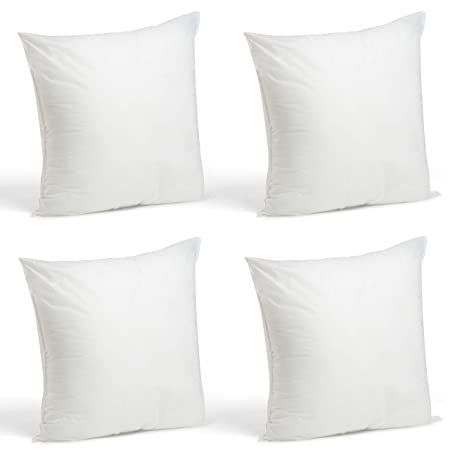 """Foamily Set Of 4 Premium Hypoallergenic Stuffer Pillow Inserts Sham Square Form Polyester, 18"""" L X 18"""" W, Standard/White by Foamily"""