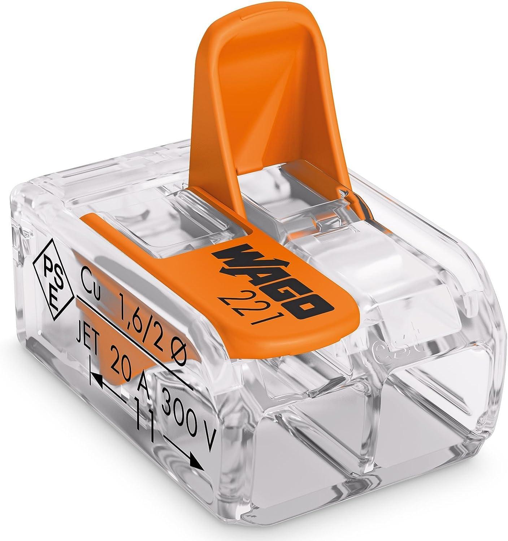 Wago-221 orange 412-lever-clamp-2-way-connectors-terminals-pack de 1//à 100