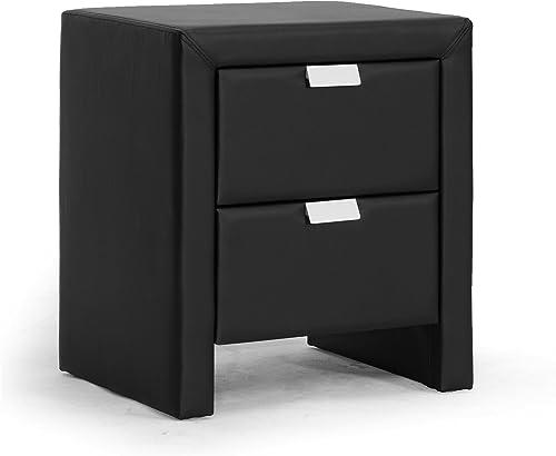 Baxton Studio Frey Upholstered Modern Nightstand, Black