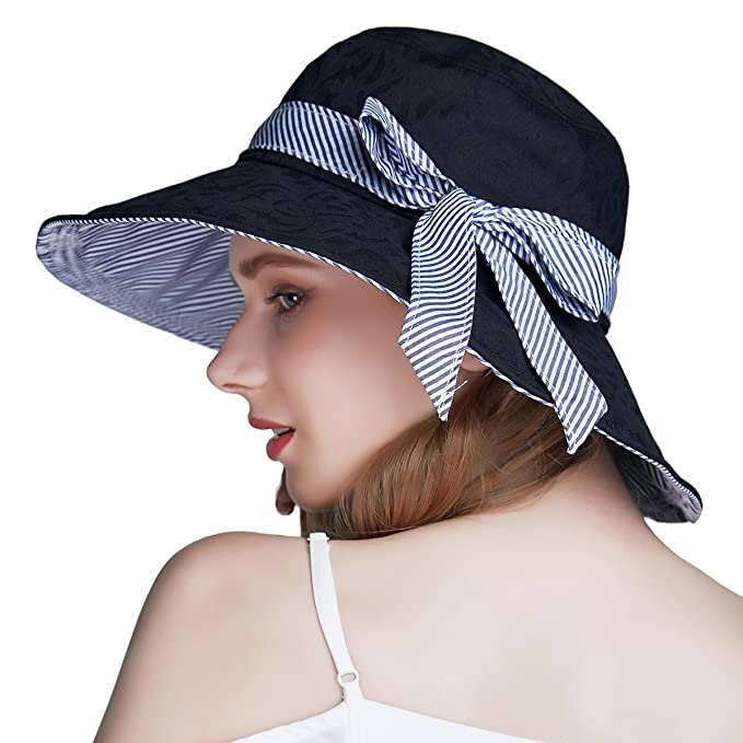 aff77118f ENJOYFUR Summer Sun Hats,Travel Hats for Stylish Women,Wide Brim Packable  UV Protection Cap with Adjustable Chin Strap